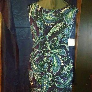 Women's sleeveless Paisley dress, Anne Klein